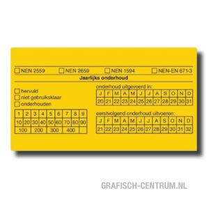 keuringsstickers geel